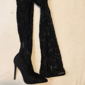 Liliana thigh high lace heels